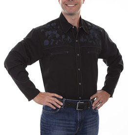 Scully Men's Scully Rose Embroidered Yoke Western Shirt