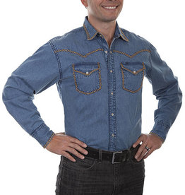 Scully Leather Men's Scully Denim Signature Western Shirt with Stitching