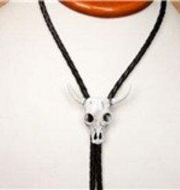 Rockmount Bolo Tie - White Steer Skull