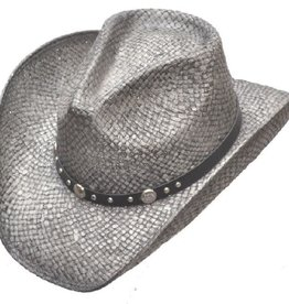 Silver Pinch Front Straw Hat