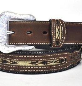 Nocona Adult - Nocona Belt w/ Fabric Center - Black & Brown