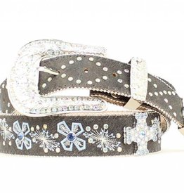 M & F Adult - Cross Embroidered Crystal Belt