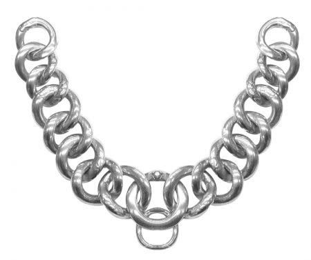 "Showman Stainless Steel Flat Link Curb Chain. 9"" x 1"" wide"