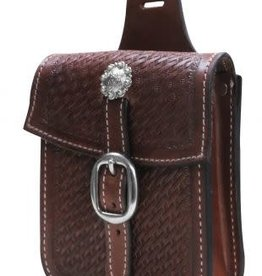 Showman Basket Tooled Leather Saddle Pocket, M.Oil