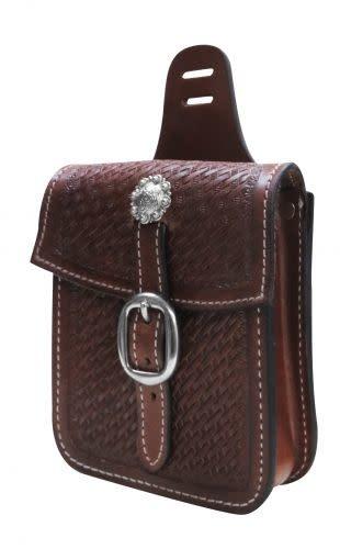 Showman Basket Tooled Leather Saddle Pocket, M.Oil