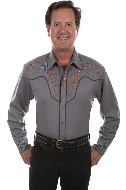 Scully Men's Scully Scroll & Cross Embroidered Western Shirt