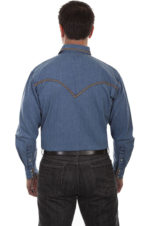 Scully Men's Scully Denim Signature Western Shirt with Stiching