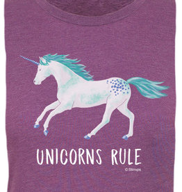 Stirrups Children's Stirrup Unicorns Rule Short Sleeve T-Shirt, Purple