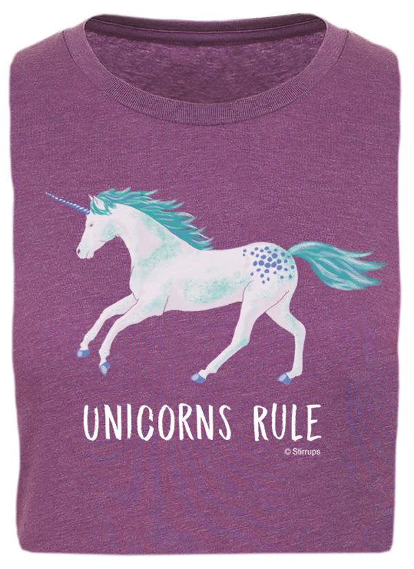 Stirrups Children's Stirrup Unicorns Rule Short Sleeve T-Shirt, Purple