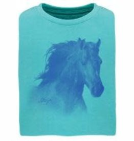 Stirrups Children's Stirrups Horse Head T-Shirt, Tahiti Blue