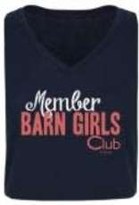 "Stirrups Adult Stirrups ""Member Barn Girls Club"" V-Neck T-Shirt, Navy"