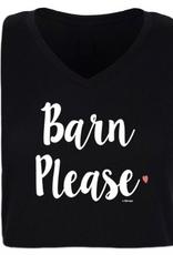 "Stirrups Adult Stirrups ""Barn Please"" V-Neck T-Shirt, Black"
