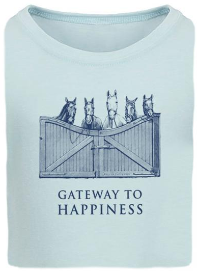"Stirrups Children's Stirrups ""Gateway to Happiness"" Fitted T-Shirt, Ice Blue"