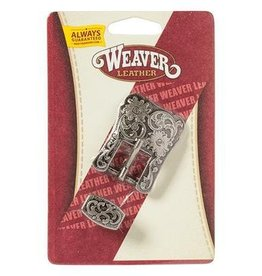 "Weaver 5/8"" Antique Nickel Floral Heel Buckle"