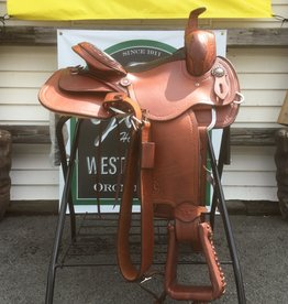 "Circle L 14"" FQHB Circle L Trail Pleasure Saddle, Medium Oil, Shell Boarder Tooling"