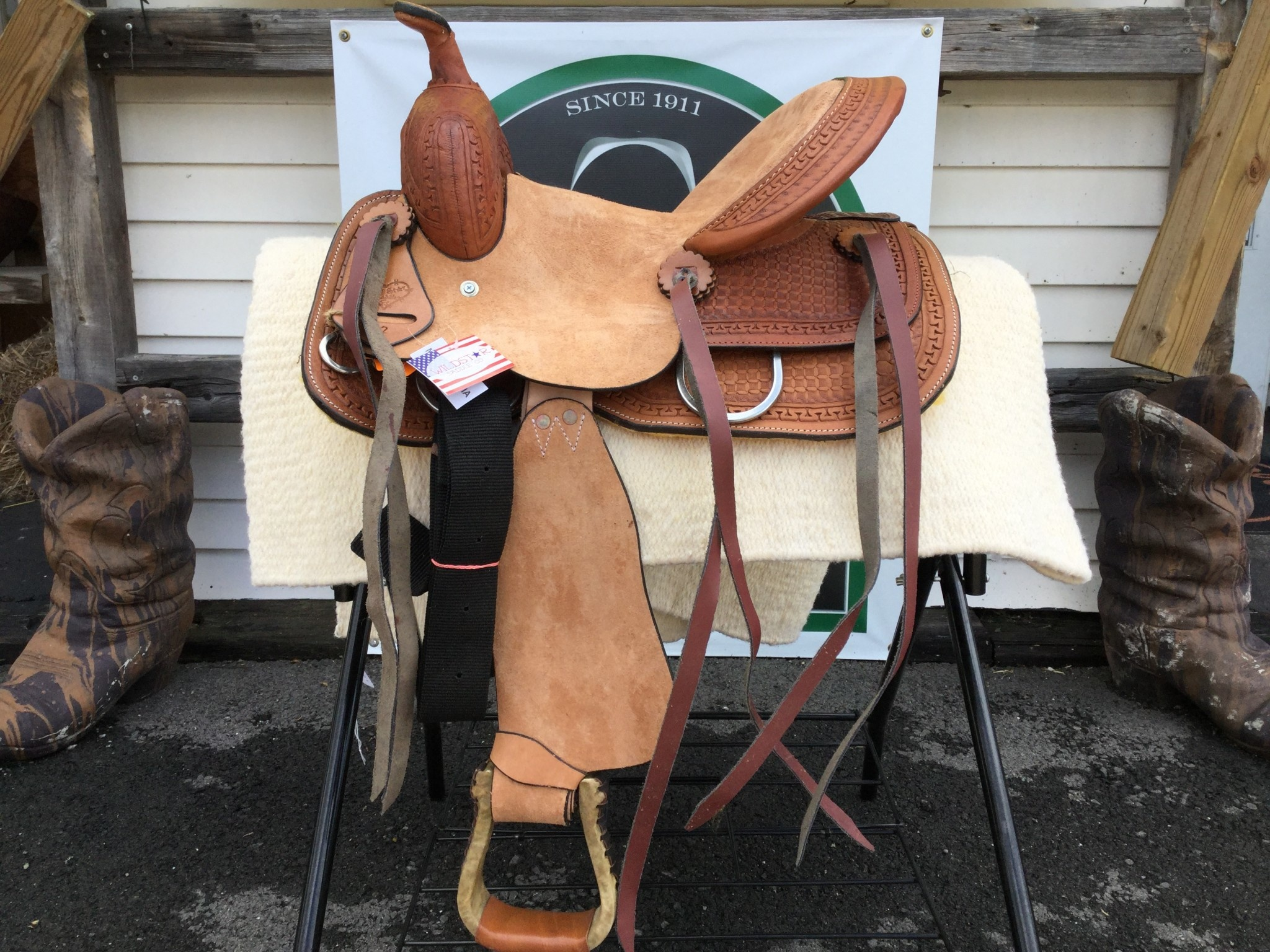 "Wild Star Trail Saddle - 12"" Roughout Hard Seat - FQHB"