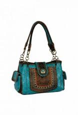 Handbag - Turquoise, Boho Style Embroidery