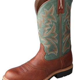 Twisted X Men's Twisted X Cowboy Workboots, Cognac Green Top (Reg $179.95 now $20 OFF!)