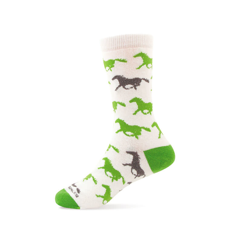 Children's or Youth Sock-Charcoal & Lime Horses