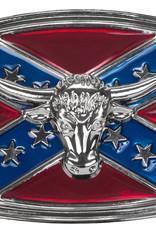 WEX Belt Buckle - Steer Head on Rebel Flag