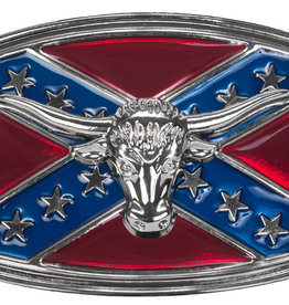 WEX Belt Buckle - Steer Head on Rebel Flag
