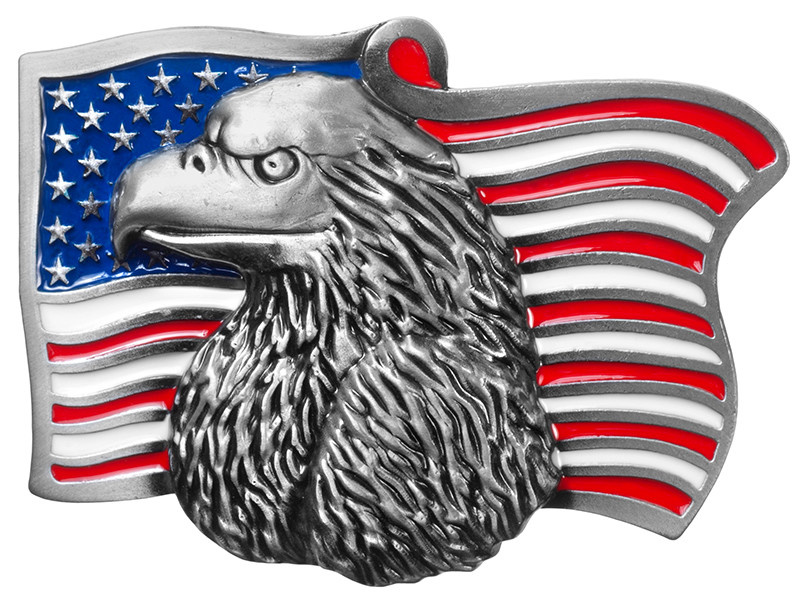 WEX Belt Buckle - Eagle Head on American Flag