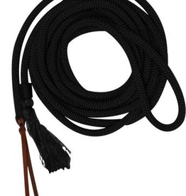 Showman Nylon Braided Mecate Rein Brown - 23'