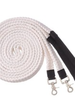 Cotton Braided Split Reins with Snaps - White