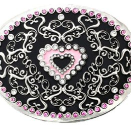 Western Fashion Accessories Belt Buckle - Pink Heart