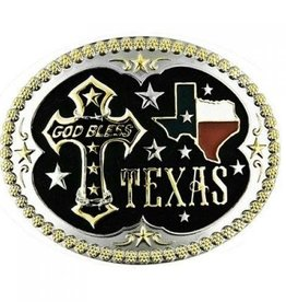 Western Fashion Accessories Belt Buckle - GOD Bless Texas Oval