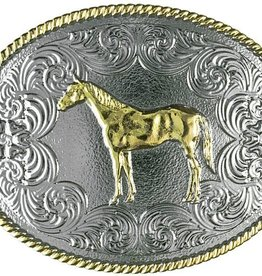 Western Fashion Accessories Belt Buckle - Gold Standing Horse