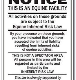NOTICE - Equine Inherent Risk Law (portrait) - Metal