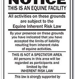 NOTICE - Equine Inherent Risk Law (portrait) - Metal