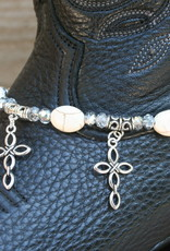 Boot Candy Boot Bracelet Crosses and Oval Howlite Beads
