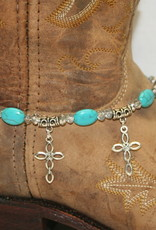 Boot Candy Boot Bracelet Crosses and Turquoise Oval Beads