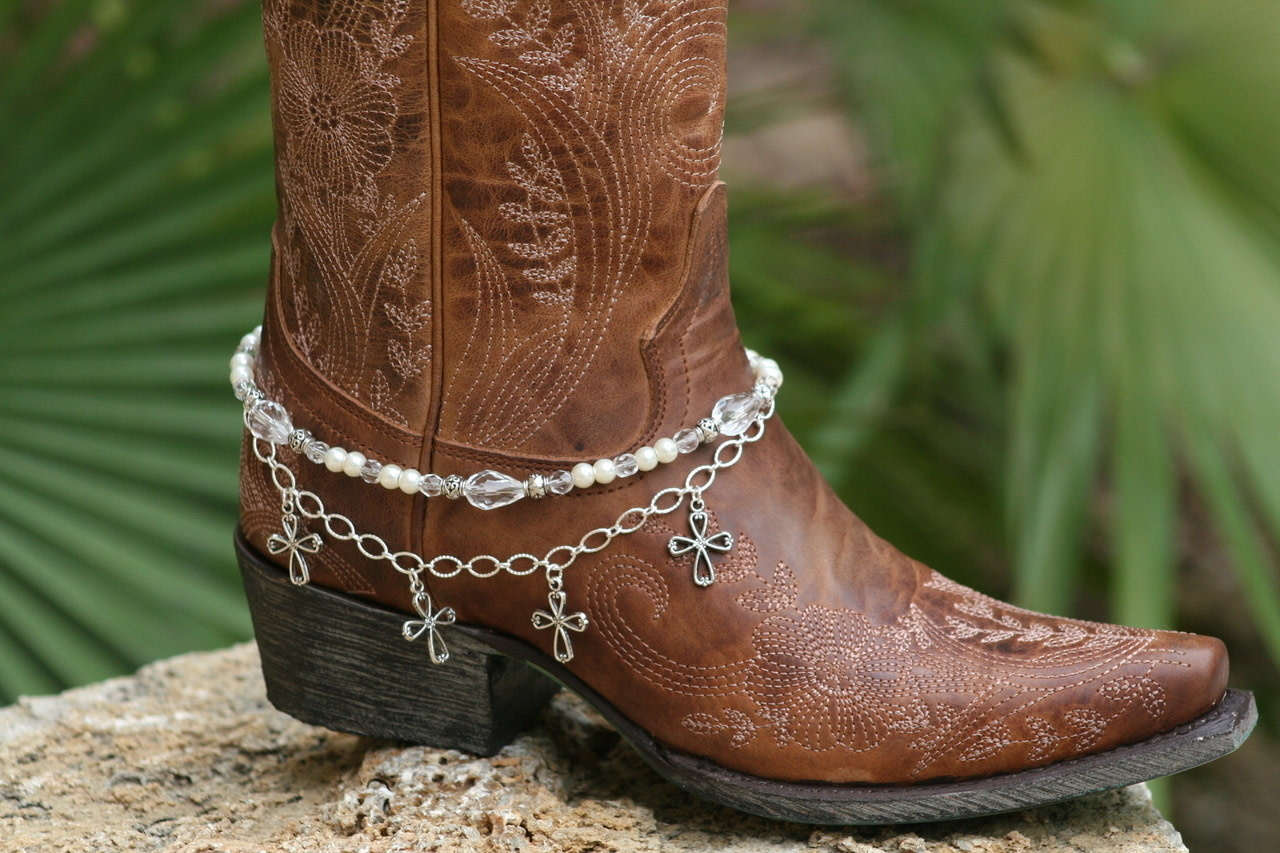 Boot Candy Boot Bracelet Crosses, Pearls and White Crystals