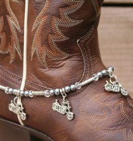 Boot Candy Boot Bracelet Cruser Bikes and Black Beads