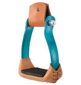 Tough-1 Polished Aluminum Barrel Racer Stirrups - Turquoise