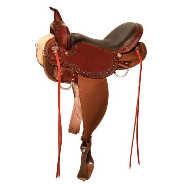 "Circle Y 15"" FQHB Circle Y Daisetta Cordura Trail Saddle, Tobac"
