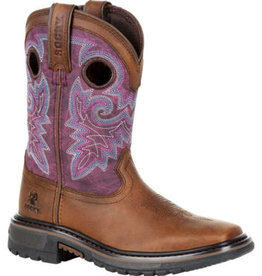 Rocky Youth Rocky Big Kid's Original Ride FLX Western Boot - Purple Brown