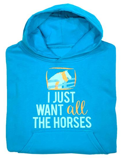 "Stirrups Children's Stirrups Hoodie - ""All the Horses"""
