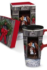 Boxed Ceramic Mug - Christmas Horse Family