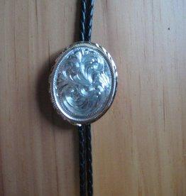 Rockmount Bolo Tie - Oval Gold Rim Concho