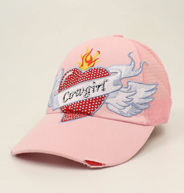 Ladies Heart Tatoo Cap pink Cowgirl