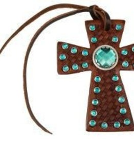 Showman Tie On Cross w/ Emerald Rhinestones