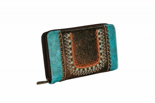 Clutch - Turquoise, Boho Style Embroidery
