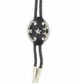 Bolo Tie - Black Oval w/ Star