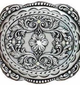 Belt Buckle - Youth Oval Rhinestone Edged Floral