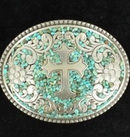 M & F Belt Buckle - Oval Berry Edge Turquoise w/Cross