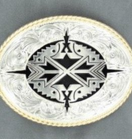 M & F Belt Buckle - Oval Rope Edge Aztec